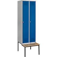 Kledinglocker met zitbank, 2 compartimenten, veiligheidsdraaigrendelslot, blank aluminium/gentiaanblauw