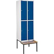Kledinglocker, met zitbank, 2x2 compartimenten 300 mm, draaigrendelslot, lichtgrijs/gentiaanblauw
