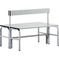 Kleedkamerbank, rvs buis/aluminium, dubbel, met rugleuning, l 1015 mm, wit aluminium