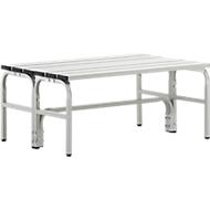 Kleedkamerbank, stalen buis/aluminium, dubbel, 1015 mm lang, lichtgrijs