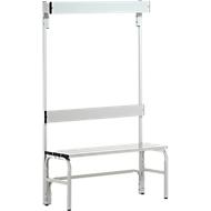 Kleedkamerbank, stalen buis/aluminium, enkel met garderobedeel, 1015 mm lang, lichtgrijs