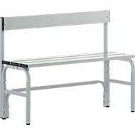 Kleedkamerbank, stalen buis/aluminium, enkel met rugleuning, l 1015 mm, wit aluminium