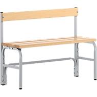 Kleedkamerbank, stalen buis/hout, enkel, met rugleuning, l 1015 mm, wit aluminium