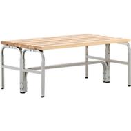 Kleedkamerbank, stalen buizen/hout, dubbel, L 1015 mm, lichtgrijs