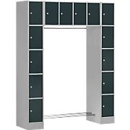Kleerkast, 2 zuilen + hangelement, 2 x 5 + 4 afsluitbare vakken, garderobekast, dunne plaat, wit aluminium/antracietgrijs