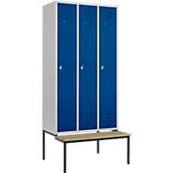 kleerkast, 3-delig, 300 mm, draaislot, met bank, deur gentiaanblauw, 3-delig, 300 mm, met deur gentiaanblauw