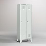Kleiderspind, 2 Türen, B 600 x H 1900 mm, inkl. Füßen, Drehriegelverschluss, lichtgrau