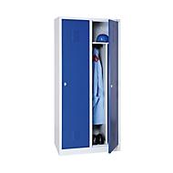 Kleiderspind, 2 Türen, B 800 x H 1800 mm, Drehriegelverschluss, lichtgrau/enzianblau