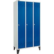 Kleiderspind, 3 Abteile, Drehriegelverschluss, lichtgrau/enzianblau