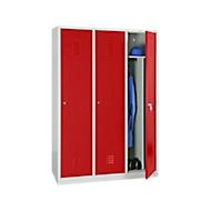 Kleiderspind, 3 Türen, B 1200 x H 1800 mm, Zylinderschloss, lichtgrau/rot