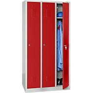 Kleiderspind, 3 Türen, B 900 x H 1800 mm, Zylinderschloss, lichtgrau/rot