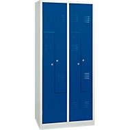 Kleiderspind, 4 Abteile, mit Sockel, B 800 x H 1800 mm, Drehriegelverschluss, lichtgrau/enzianblau