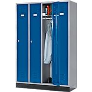Kleiderspind, 4 Abteile, Sockel, Drehriegelverschluss, 84 kg, blau/hellsilber