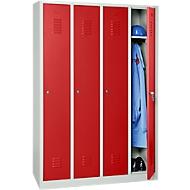 Kleiderspind, 4 Türen, B 1170 x H 1800 mm, Zylinderschloss, lichtgrau/feuerrot