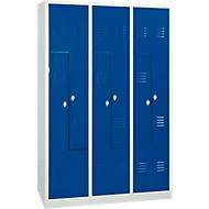Kleiderspind, 6 Abteile, mit Sockel, 6 Fächer, mit Z-Türen, Drehriegelverschluss, lichtgrau/blau