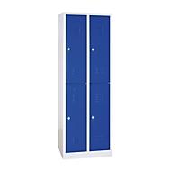 Kleiderspind, doppelstöckig, 2 x 2 Abteile, Drehriegelverschluss, lichtgrau/enzianblau