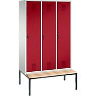 Kleiderspind Evolo S 3000, untergebaute Sitzbank, 3 Abteile, Stahl, Sicherheitsdrehriegelverlschluss, lichtgrau/rubinrot