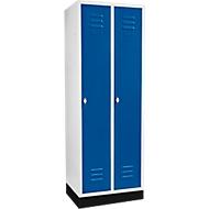Kleiderspind mit 2 Abteilen, 300 mm, Drehriegelverschluss, mit Sockel, Tür enzianblau