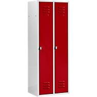 Kleiderspind, mit 2 Abteilen, Drehverschluss, Tür rot