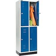 Kleiderspind, mit 2 x 2 Abteilen, 300 mm, mit Sockel, Zylinderschloss, Tür enzianblau