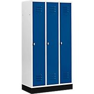 Kleiderspind mit 3 Abteilen, 300 mm, Drehriegelverschluss, mit Sockel, Tür enzianblau