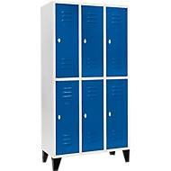 Kleiderspind, mit 3 x 2 Abteilen, 300 mm, mit Füßen, Drehriegelverschluss, Tür enzianblau