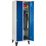 Kleiderspind mit Füßen, 2 Abteilen, lichtgrau/enzianblau