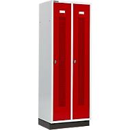 Kleiderspind, mit gelochten Streifen, 2 Abteile, 300 mm, mit Sockel, Drehriegelverschluss, Tür rubinrot