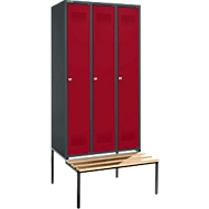 Kleiderspind mit Sitzbank, 3 Abteile, Zylinderschloss, anthrazit/rubinrot