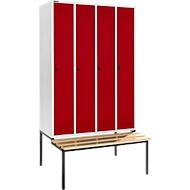 Kleiderspind mit Sitzbank, 4 Abteile, 300 mm Abteilbreite, Sicherheitsdrehriegelverschluss, lichtgrau/rot
