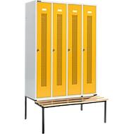 Kleiderspind, mit Sitzbank, 4 Abteile, 300 mm, Drehriegelverschluss, Tür rapsgelb