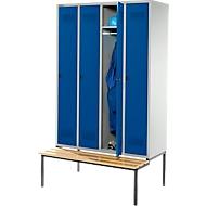 Kleiderspind mit Sitzbank, 4 Abteile, Drehverschluss, lichtgrau/enzianblau