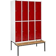 Kleiderspind, mit Sitzbank, 4x2 Abteile, 300mm, Drehriegelverschluss, Tür rubinrot