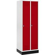 Kleiderspind mit Sockel, 2 Abteile, Sicherheitsdrehriegelverschluss, lichtgrau/rot