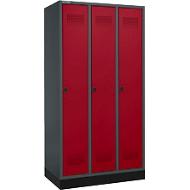 Kleiderspind mit Sockel, 3 Abteile, Drehverschluss, anthrazit/rubinrot