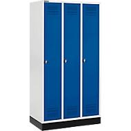 Kleiderspind mit Sockel, 3 Abteile, Drehverschluss, lichtgrau/enzianblau