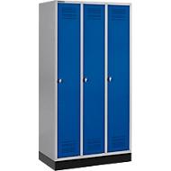 Kleiderspind mit Sockel, 3 Abteile, Sicherheitsdrehriegelverschluss, hellsilber/enzianblau