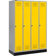Kleiderspind mit Sockel, 4 Abteile, Drehriegelverschluss, weißaluminium/gelb
