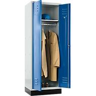 Kleiderspind, mit Zylinderschloss, lichtgrau/enzianblau
