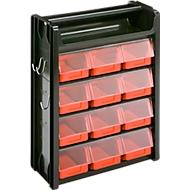 Kleinteilemagazin Porta-Fix PF 5, schwarz/rot