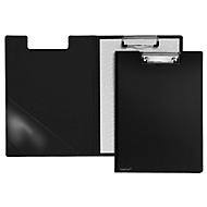 Klembord map A4, clip met kunststof hoeken, driehoekige transparante zak binnenin, PP, zwart