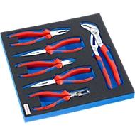 KNIPEX-tang in hardschuiminzet, 6 st., voor kasten uit de FS5-serie, afmetingen 299 x 567 mm.