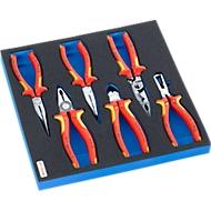 KNIPEX tangenset elektricien in hardschuiminleg, 6-delig, voor kastenserie FS5, afmetingen 299 x 567 mm
