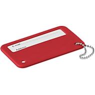 Kofferanhänger MUNDO, Kunststoff mit Kugelkette, beschreibbar, Tampondruck 45 x 15 mm, rot
