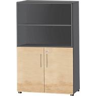 Kombischrank Start Up, 4 OH, abschließbar, B 800 x T 420 x H 1470 mm, Holz, graphit/ahorn