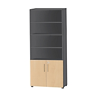Kombischrank Start Up, 6 OH, 2 OH mit Tür, abschließbar, B 800 x T 420 x H 2196 mm, graphit/ahorn
