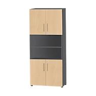 Kombischrank Start Up, 6 OH, 4 OH m. Tür, abschließbar, B 800 x T 420 x H 2196 mm, graphit/ahorn