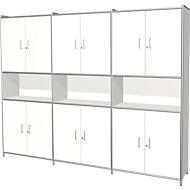 Kombischrank Toledo, m. Sichtrückwand, abschließbar, 2 Schübe, 5 OH, B 2360 x T 380 mm, weiß