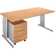 Komplett-Angebot COMBITEC Schreibtisch + Rolly, Buche/weißalu
