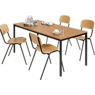 Komplett-Set Stahlrohr-Tisch mit 4 Stapelstühlen